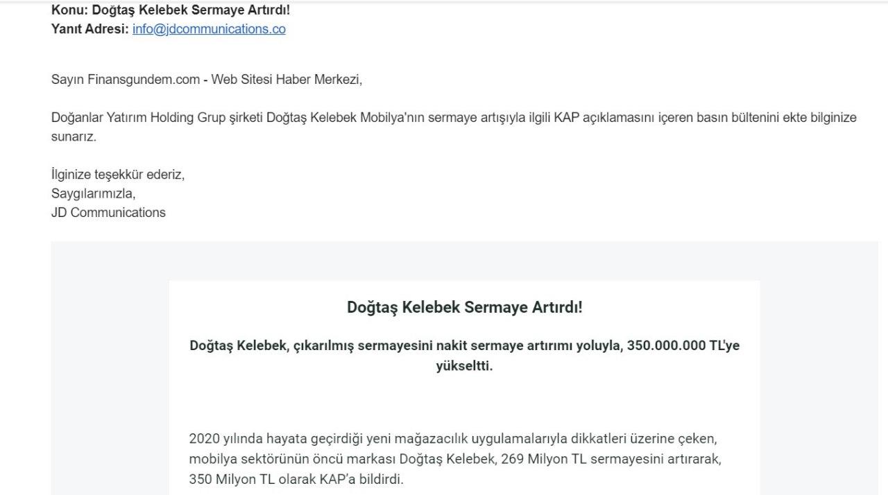Doğtaş Kelebek'ten yatırımcıları yanıltan açıklama Kulis